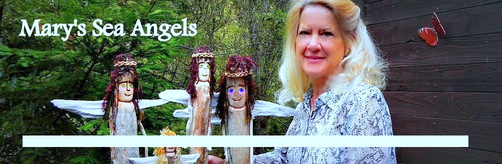 carved driftwood, carved angels, creative wood carving